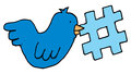Bird holding a twitter tag topic cartoon blue icon with Stock Photo