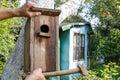 Bird house in the garden making of Royalty Free Stock Photos
