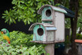 Bird house old wood of two step on the park Royalty Free Stock Photos