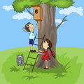 Bird house vector cartoon children build a for the birds Stock Image