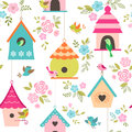 Bird houses pattern Royalty Free Stock Photo