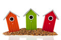 Bird houses and seed Royalty Free Stock Photo
