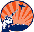 Bird Hunter aiming shotgun rifle Royalty Free Stock Photo