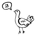 Bird little singing doodle with speech bubble Stock Images