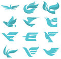 Bird logo signs of birds in a symbolic classic style expressive graphics solution for the development of your design and Stock Photo
