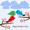 Bird in love vector illustration with Royalty Free Stock Photos
