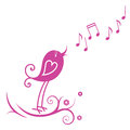 Bird and musical notes Royalty Free Stock Photo