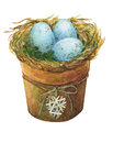 Bird nest with blue eggs in a flowerpot with a decorative heart, homes decor for Easter.