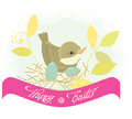 Bird in nest easter background Stock Photography