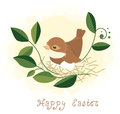 Bird in nest easter background Royalty Free Stock Photography