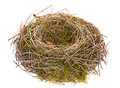 Bird nest empty isolated white Stock Photos