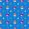 Bird New Year seamless pattern