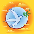 Bird with Olive Branch - Symbol of Peace Stock Images
