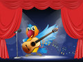 A bird performing above the stage illustration of Stock Image