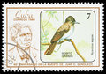 Bird on a postage stamp Stock Photo