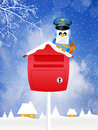 Bird postman illustration of with christmas letter Stock Images