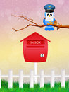 Bird postman illustration of with letter Royalty Free Stock Image