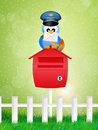 Bird postman illustration of with letter Stock Photography