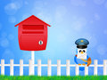 Bird postman illustration of with letter Royalty Free Stock Photography