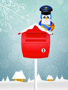 Bird postman illustration of in winter Royalty Free Stock Photo