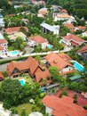 Bird's eye view of high class landed property estate with large beautiful houses and many private swimming pools Royalty Free Stock Photo
