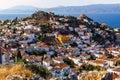 Bird`s eye view of the houses on Hydra island, Greece. Travel. Royalty Free Stock Photo