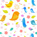Bird seamless pattern with and flowers Royalty Free Stock Image