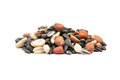 Bird seed on white colorful and crisp image of Stock Image