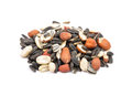 Bird seed on white colorful and crisp image of Stock Photos