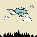 Bird sending letter illustration of fly over the city Stock Images