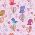 Bird sing music note love pastel color seamless pattern Royalty Free Stock Photo