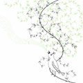 Bird sings in abstract bush nature design with cute and decorative curled branches with leaves nature background hand drawn line Stock Photo