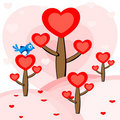 A bird sitting on the heart tree. . Royalty Free Stock Images