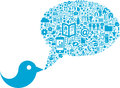 Bird with social media icons this is a conceptual composition a and a bubble speech made Royalty Free Stock Images