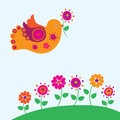 Bird and spring flowers vector illustration Royalty Free Stock Photo