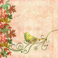Bird on swirls Stock Photo
