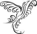 Bird tattoo stencil on branch black Stock Photo