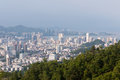Bird view cityscape of zhuhai china shot from banzhangshan banzhang mountain the highest mountain in urban at Royalty Free Stock Images