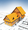 Bird view homestead building with layout plan and clear sky Royalty Free Stock Image