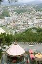 Bird view of San Sebanstian city and sea Royalty Free Stock Image
