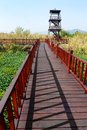 Bird watching tower china wetland park a photograph showing a tall wooden birdwatching and nature observation in the middle of a Stock Images