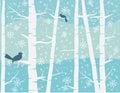 Bird on winter scene Royalty Free Stock Photo