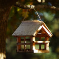 Birdhouse in the autumn forest Stock Images