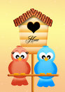 Birdhouse funny illustration of with heart Stock Photos