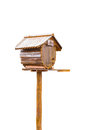 Birdhouse or homemade wooden mailbox isolated on white background Royalty Free Stock Photos