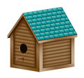 Birdhouse illustration of a realistic with a turquoise shingled roof Stock Images