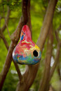 Birdhouse made from painted gourd Stock Images