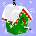 Birdhouse in the snow Royalty Free Stock Photo
