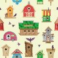 Birdhouse vector cartoon birdbox and birdie wooden house illustration set of birds singing birdsongs in decorative house