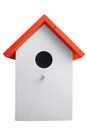 Birdhouse white nest box isolated on white clipping path included Stock Images